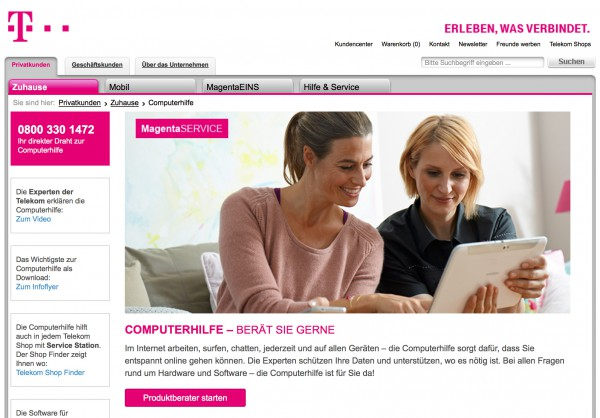 Good example: Deutsche Telekom offers support for computers and mobile devices. The telephone number is placed prominently on their website.