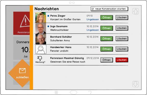 Ein Konzept (Wireframe) für die neue E-Mail-App.