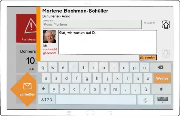 Ein Konzept (Wireframe) für die neue E-Mail-Applikation.