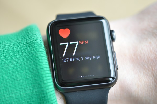 The Apple Watch can measure the senior's heart rate.