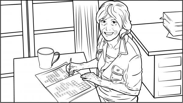 Eine Frau löst ein Kreuzworträtsel.