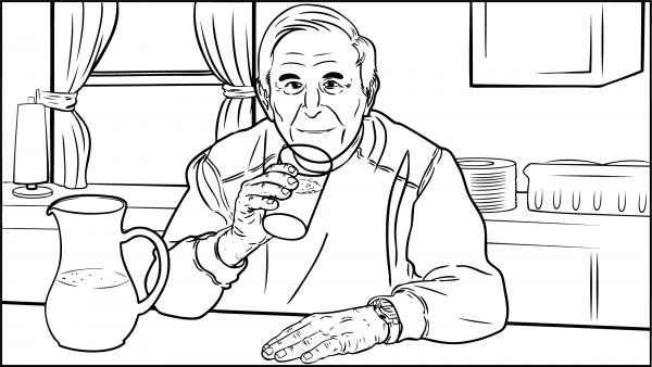 Ein Mann trinkt ein Glas Wasser.