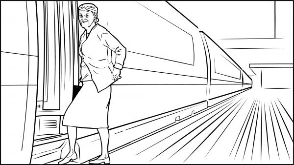 Eine Frau steigt in den Zug ein.
