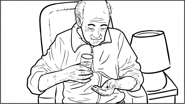 Ein Mann nimmt seine Medikamente ein.