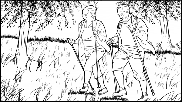 Ein Ehepaar wandert einen Berg hoch.