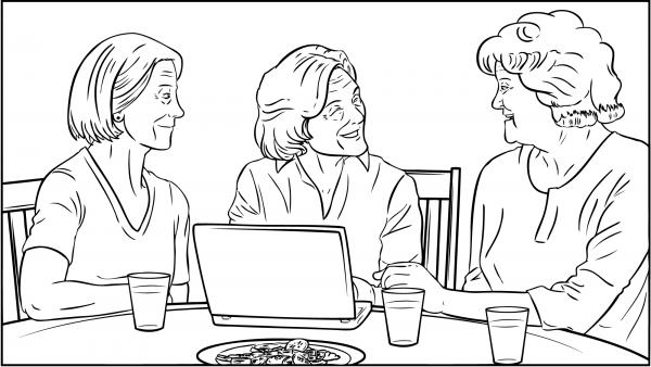 Drei Frauen sitzen schwatzend um einen Tisch herum.