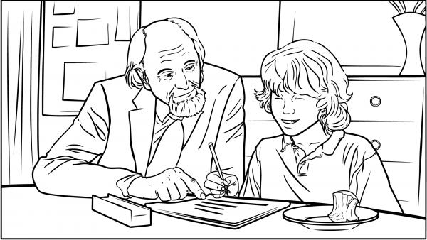 Ein Mann hilft seinem Enkel bei dessen Hausaufgaben.