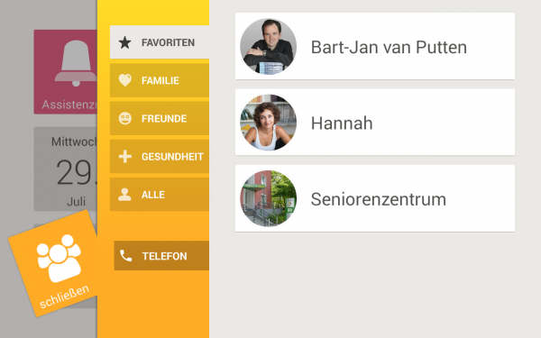 The Telefonbuch (Contacts) app on Asina. It has fewer features than the Android Contacts app, but these features will be sufficient for most users and the information architecture is much simpler to comprehend.