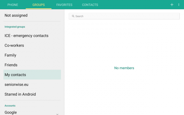 The Contacts app on Android. The information architecture that is used to group contacts is highly complex. For example: What is the meaning of 'Integrated groups'? Why is there a group called 'My contacts'? What is the difference between 'My contacts' and the tab 'Contacts' at the top of the screen? Why is there a group called 'seniorwise.eu'? (This appears to be a group that is created automatically by Skype.) What is 'Starred in Android' and what is the difference with the tab 'Favourites' at the top of the screen? What is the meaning of 'Accounts' in this context?
