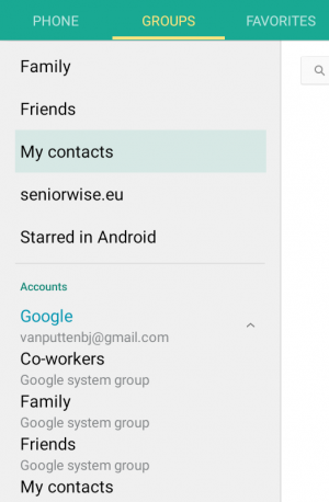The Contacts app on Android.