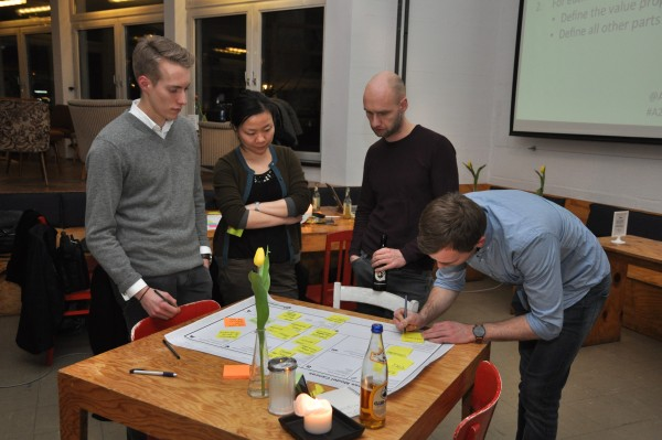 Participants working with the business model canvas